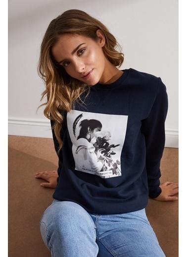 Setre Lacivert Önü Baskılı Uzun Kol Sweatshirt Lacivert